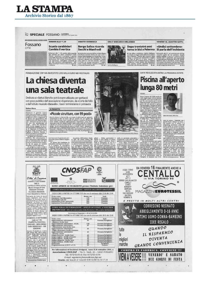 2005_09_14_LA STAMPA_LA CHIESA DIVENTA UNA SALA TEATRALE
